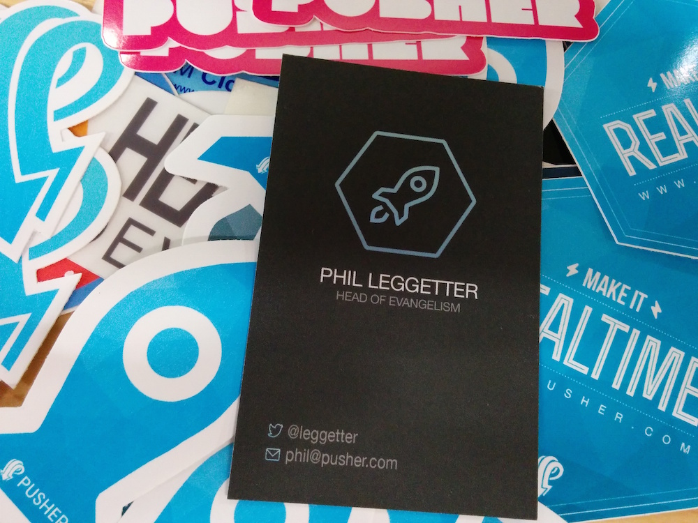 Phil Leggetter - Pusher Business card and stickers