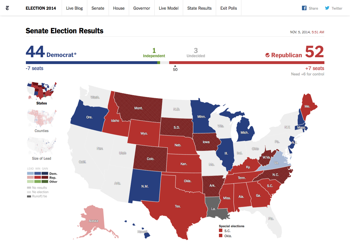 New York Times - Senate Elections Real-Time Visualisation