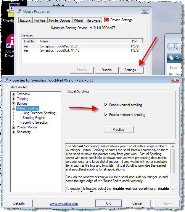 Synaptics Touchpad device settings