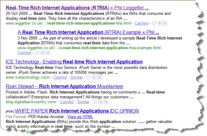 Real Time Rich Internet Application Google Search Results
